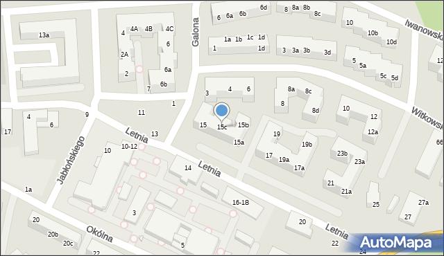 Toruń, Letnia, 15c, mapa Torunia