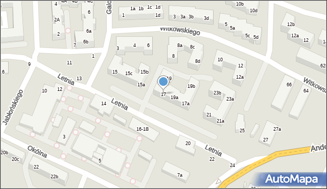 Toruń, Letnia, 17, mapa Torunia