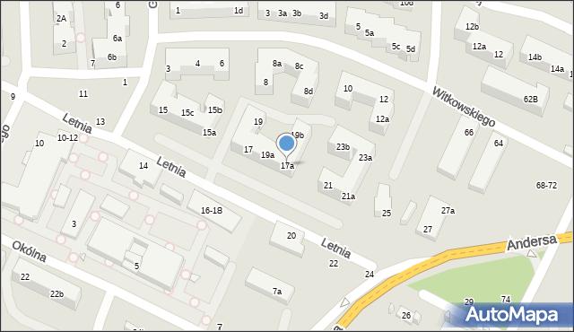 Toruń, Letnia, 17a, mapa Torunia
