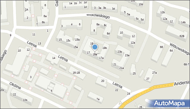 Toruń, Letnia, 19a, mapa Torunia