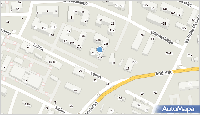 Toruń, Letnia, 21a, mapa Torunia