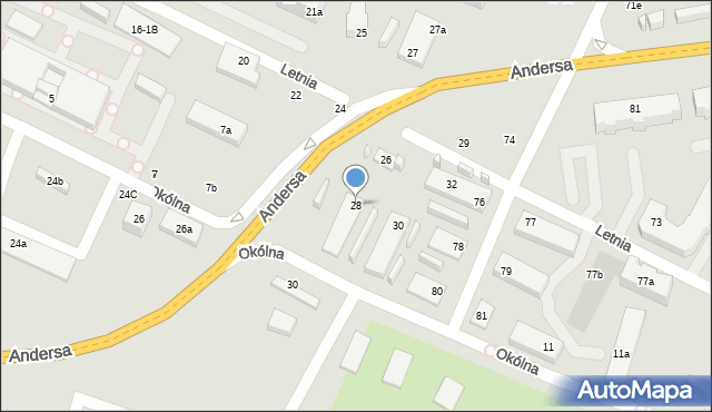 Toruń, Letnia, 28, mapa Torunia