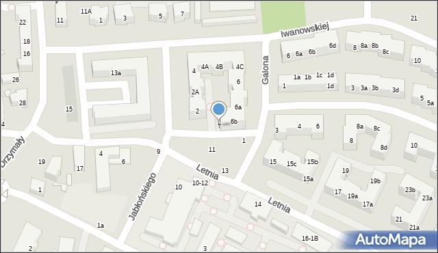 Toruń, Letnia, 7, mapa Torunia