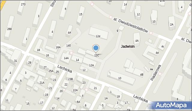 Warszawa, Lechicka, 12C, mapa Warszawy