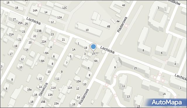 Warszawa, Lechicka, 17, mapa Warszawy