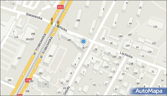 Warszawa, Lechicka, 31, mapa Warszawy