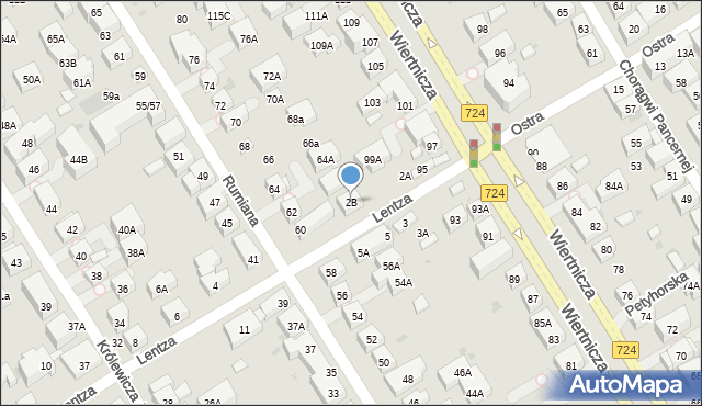 Warszawa, Lentza Stanisława, 2B, mapa Warszawy