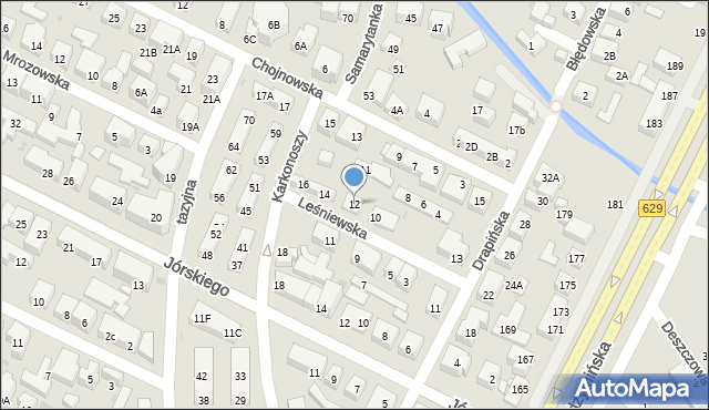 Warszawa, Leśniewska, 12, mapa Warszawy