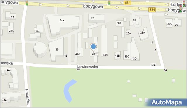 Warszawa, Lewinowska, 43, mapa Warszawy