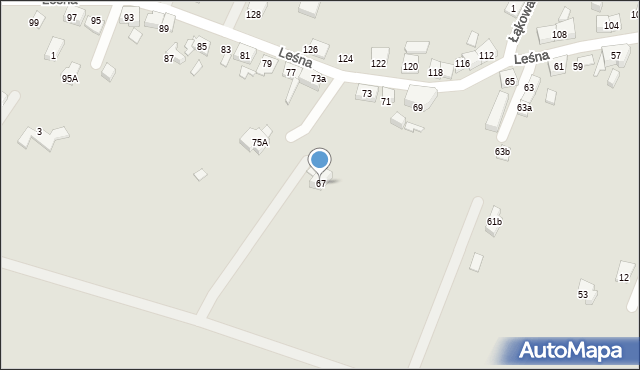 Zabrze, Leśna, 67, mapa Zabrza