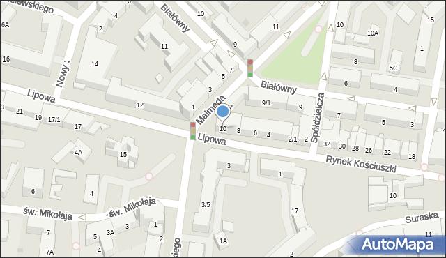 Białystok, Lipowa, 10, mapa Białegostoku
