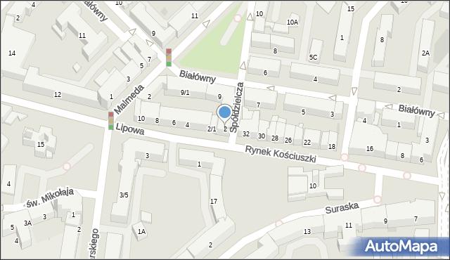 Białystok, Lipowa, 2, mapa Białegostoku
