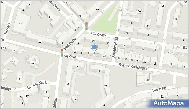 Białystok, Lipowa, 4, mapa Białegostoku