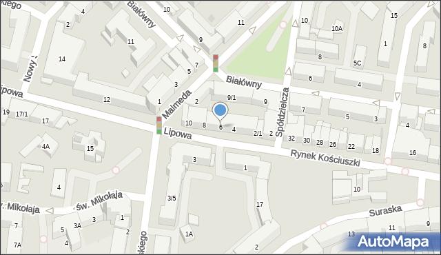 Białystok, Lipowa, 6, mapa Białegostoku