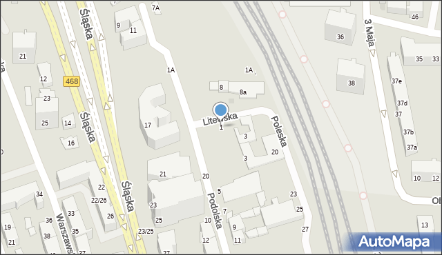 Gdynia, Litewska, 1, mapa Gdyni