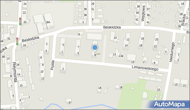 Gliwice, Limanowskiego Bolesława, 9, mapa Gliwic