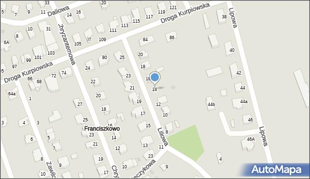 Grudziądz, Liliowa, 14, mapa Grudziądza