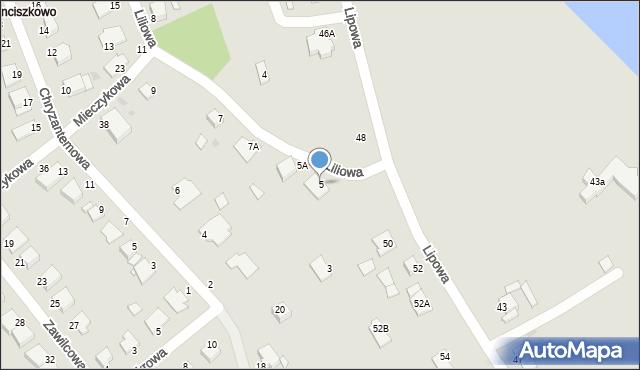 Grudziądz, Liliowa, 5, mapa Grudziądza