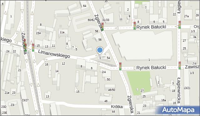 Łódź, Limanowskiego Bolesława, 1, mapa Łodzi