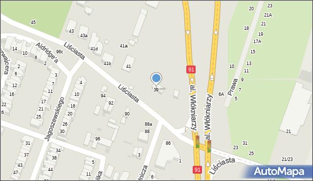Łódź, Liściasta, 39, mapa Łodzi