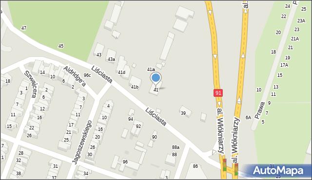 Łódź, Liściasta, 41, mapa Łodzi