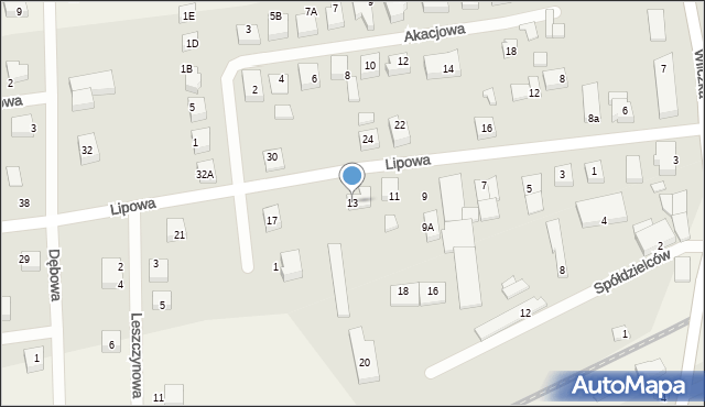 Luzino, Lipowa, 13, mapa Luzino