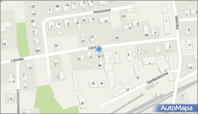 Luzino, Lipowa, 9, mapa Luzino