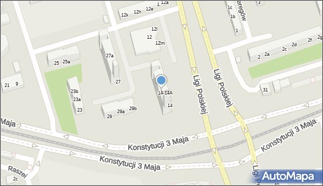 Toruń, Ligi Polskiej, 14a, mapa Torunia