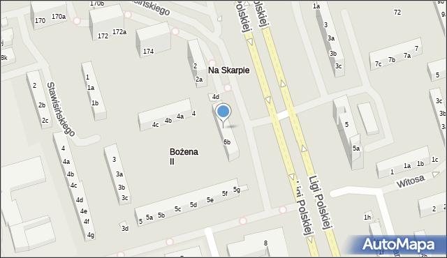 Toruń, Ligi Polskiej, 6a, mapa Torunia