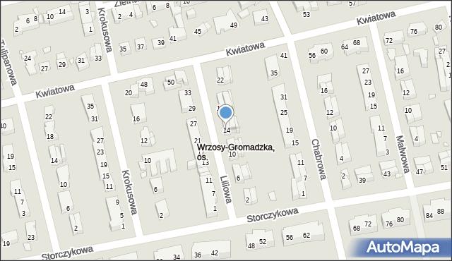 Toruń, Liliowa, 14, mapa Torunia