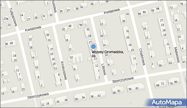 Toruń, Liliowa, 17, mapa Torunia