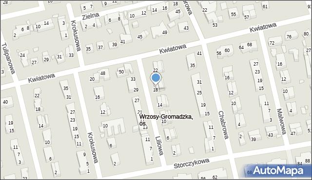Toruń, Liliowa, 18, mapa Torunia