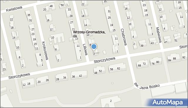 Toruń, Liliowa, 2, mapa Torunia