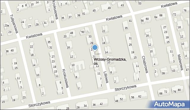 Toruń, Liliowa, 23, mapa Torunia