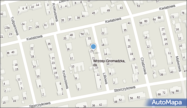 Toruń, Liliowa, 25, mapa Torunia