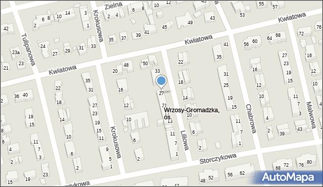 Toruń, Liliowa, 27, mapa Torunia