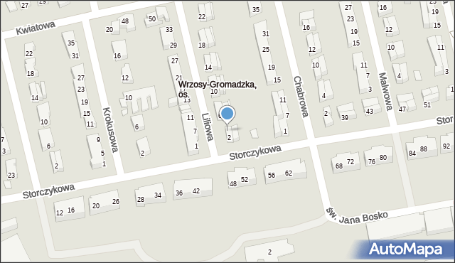 Toruń, Liliowa, 4, mapa Torunia