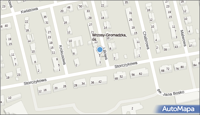 Toruń, Liliowa, 5, mapa Torunia