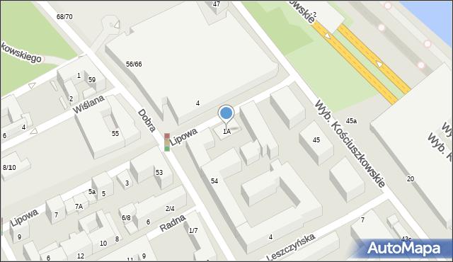 Warszawa, Lipowa, 1A, mapa Warszawy