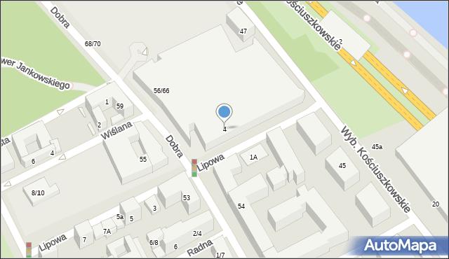 Warszawa, Lipowa, 4, mapa Warszawy