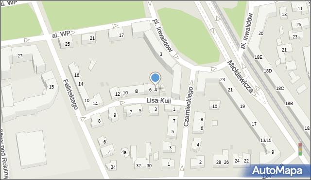 Warszawa, Lisa-Kuli Leopolda, płk., 4, mapa Warszawy