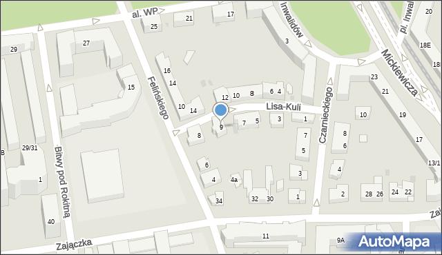 Warszawa, Lisa-Kuli Leopolda, płk., 9, mapa Warszawy