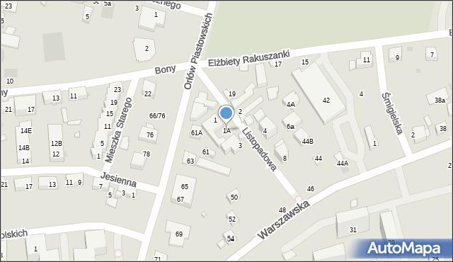 Warszawa, Listopadowa, 1A, mapa Warszawy