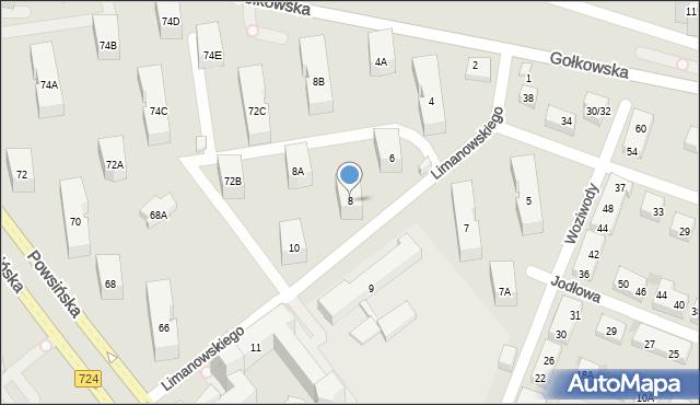 Warszawa, Limanowskiego Bolesława, 8, mapa Warszawy