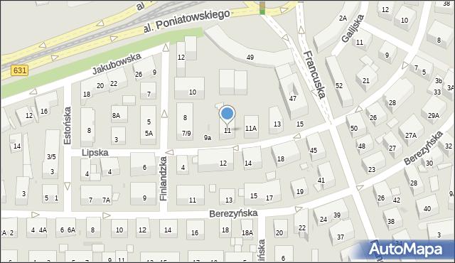 Warszawa, Lipska, 11, mapa Warszawy