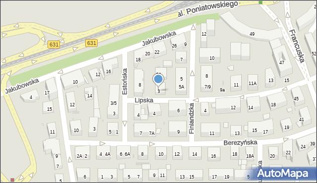 Warszawa, Lipska, 3, mapa Warszawy