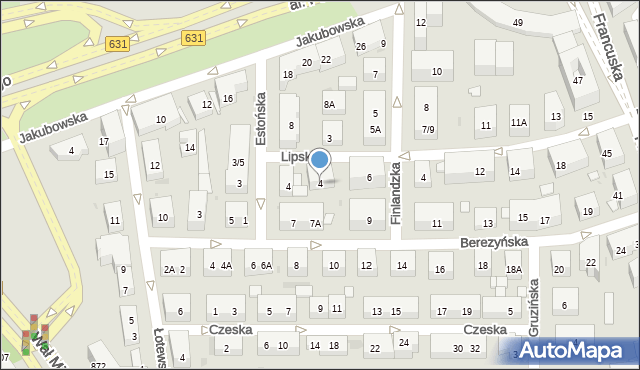 Warszawa, Lipska, 4, mapa Warszawy