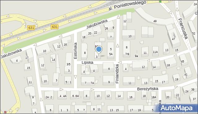 Warszawa, Lipska, 5, mapa Warszawy