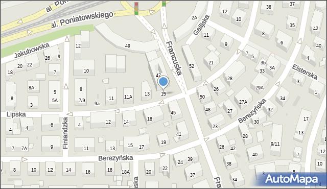 Warszawa, Lipska, 15, mapa Warszawy