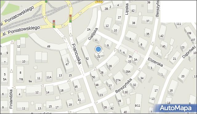 Warszawa, Lipska, 21, mapa Warszawy